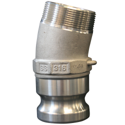 "2"" 316 Stainless Steel 15 Degree Offset Camlock Adaptor MNPT"